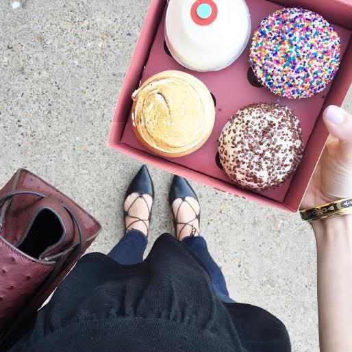 sprinkles cupcakes, henri bendel satchel, topshop lace up flats