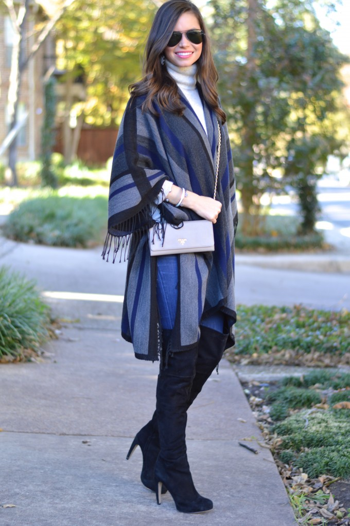 fall fashion, how to wear a poncho with over the knee boots