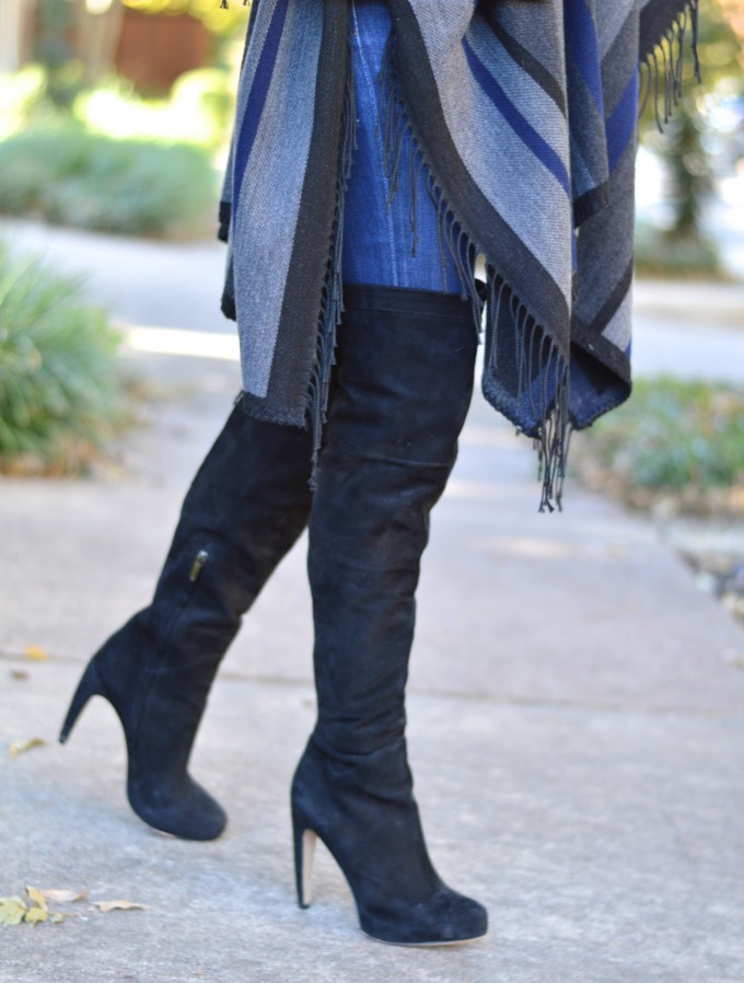 over the knee boots under $200, fringed poncho