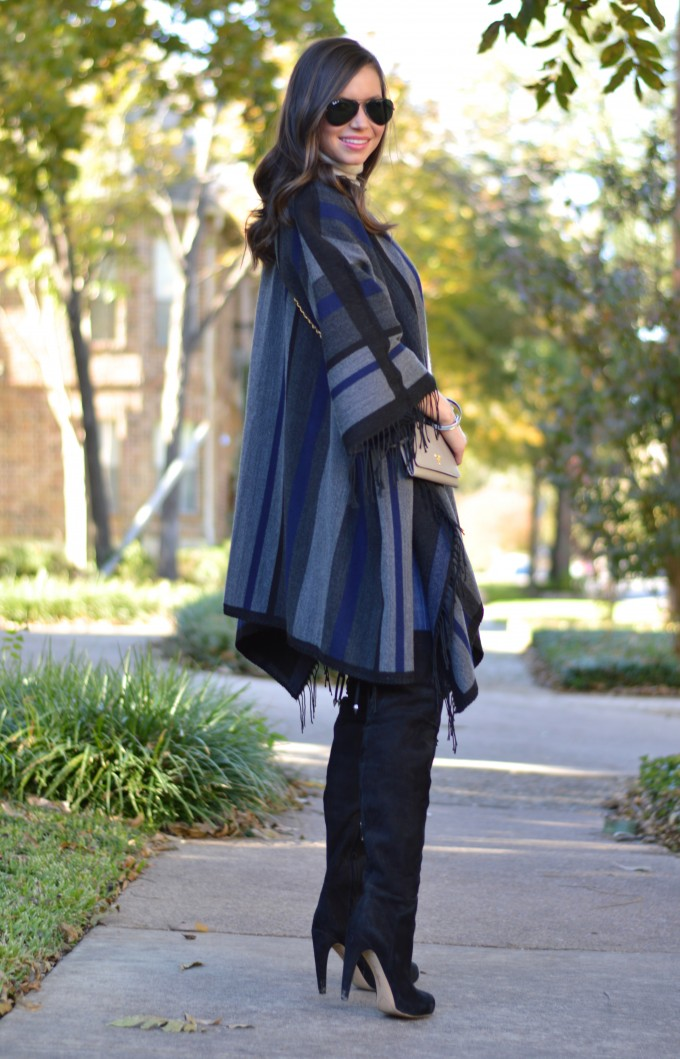 how to style a poncho, fringed poncho, over the knee boots