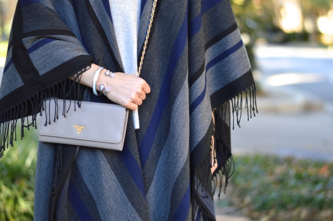 striped poncho, how to wear a poncho, fringed poncho