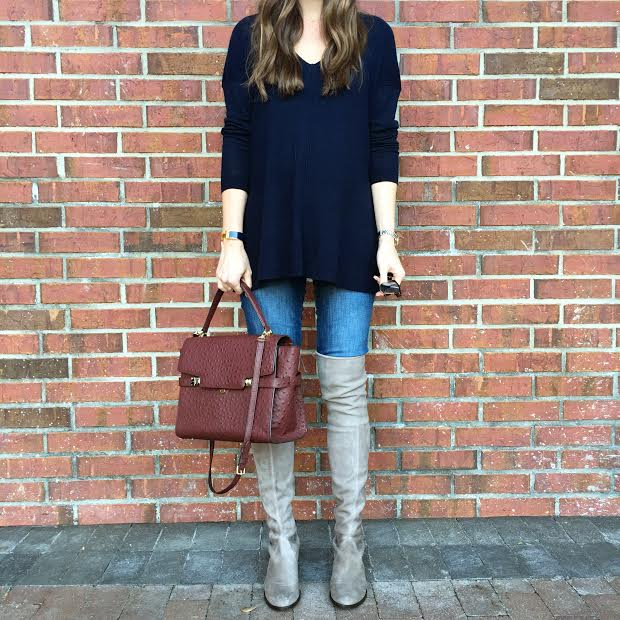 suede over the knee boots, henri bendel satchel, dressing the bump