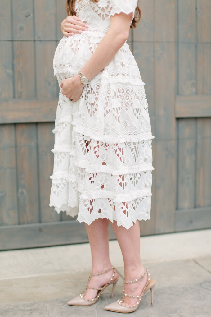 white lace dress details, white lace for a baby shower, what to wear to a baby shower