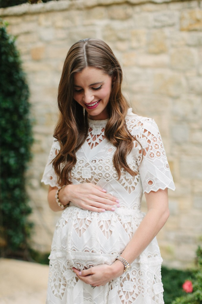 white lace dress, what to wear to your baby shower,