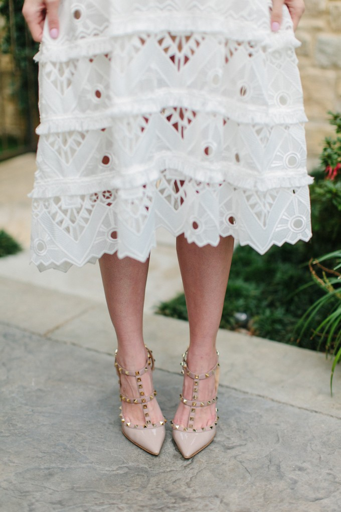 white lace dress, Valentino rock studs,