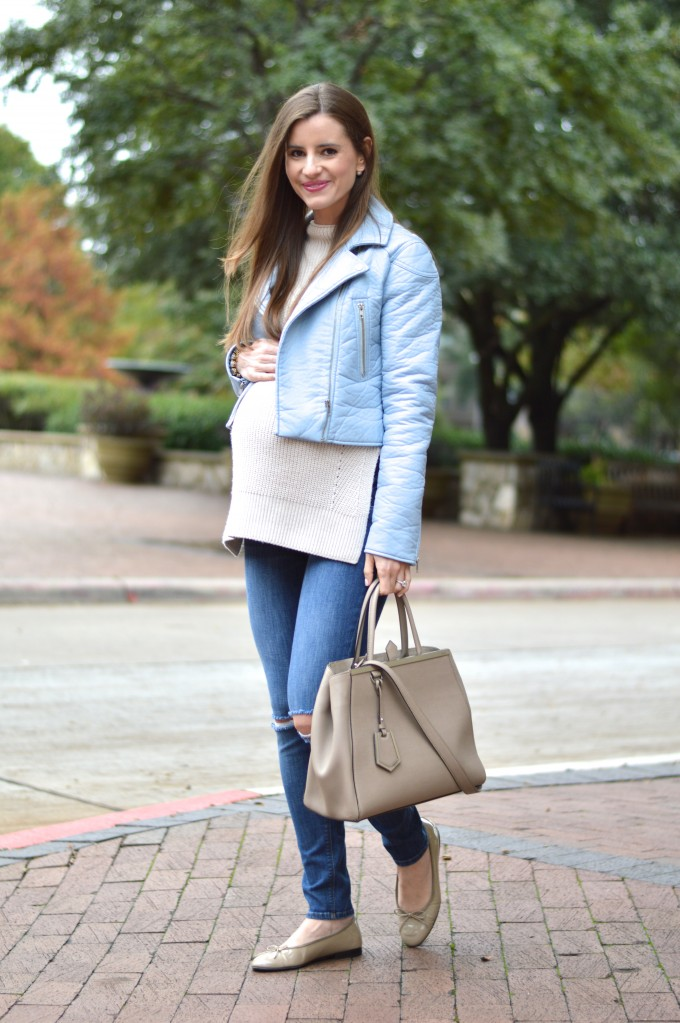 34 week bumpdate, maternity style, pregnancy style, fendi handbag, neutral handbag