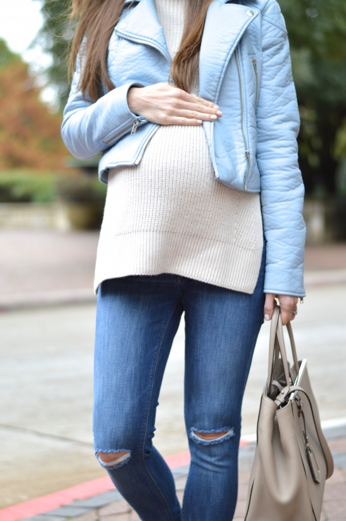 bump style. maternity style, blue leather jacket, what to wear with neutrals