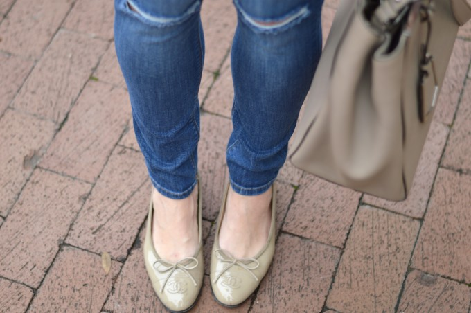 chanel flats, distressed jeans