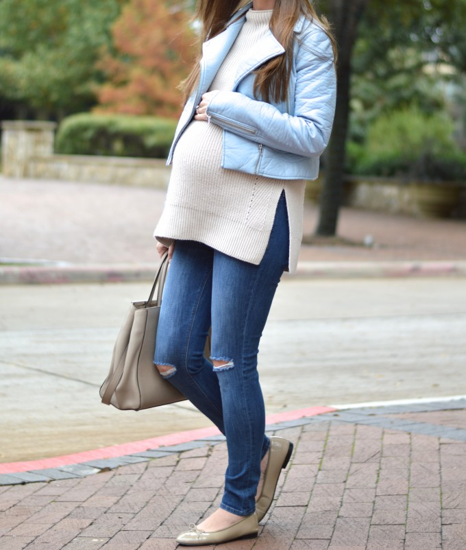 blue leather jacket, maternity style