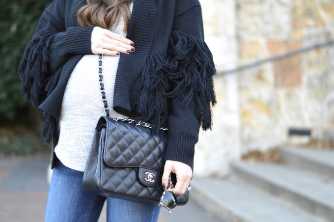 cute pregnancy outfit, fringe sweater, fringe cardigan sweater, chanel double flap handbag