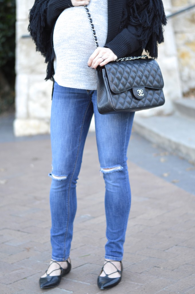 chanel double flap, distressed maternity jeans