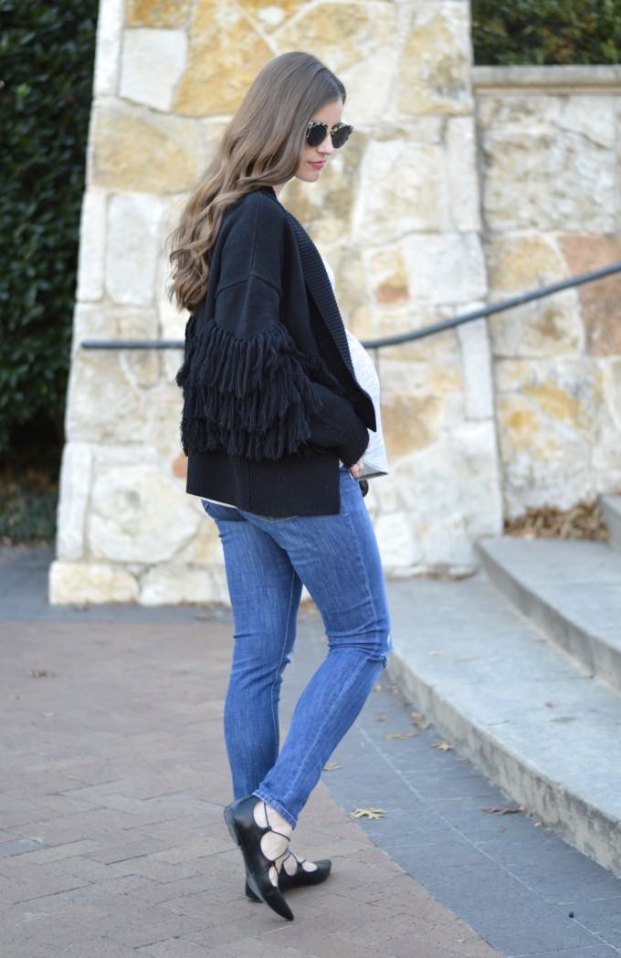 fringe sweater, what to wear when o are eight months pregnant