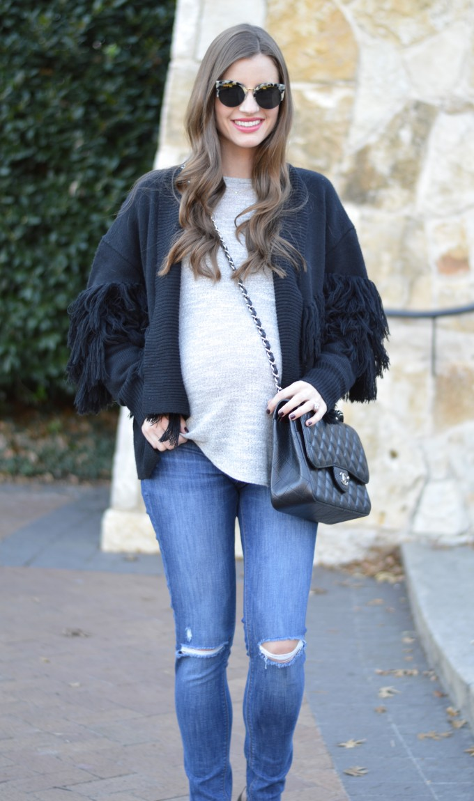 fringe sweater, chanel handbag,, distressed maternity jeans