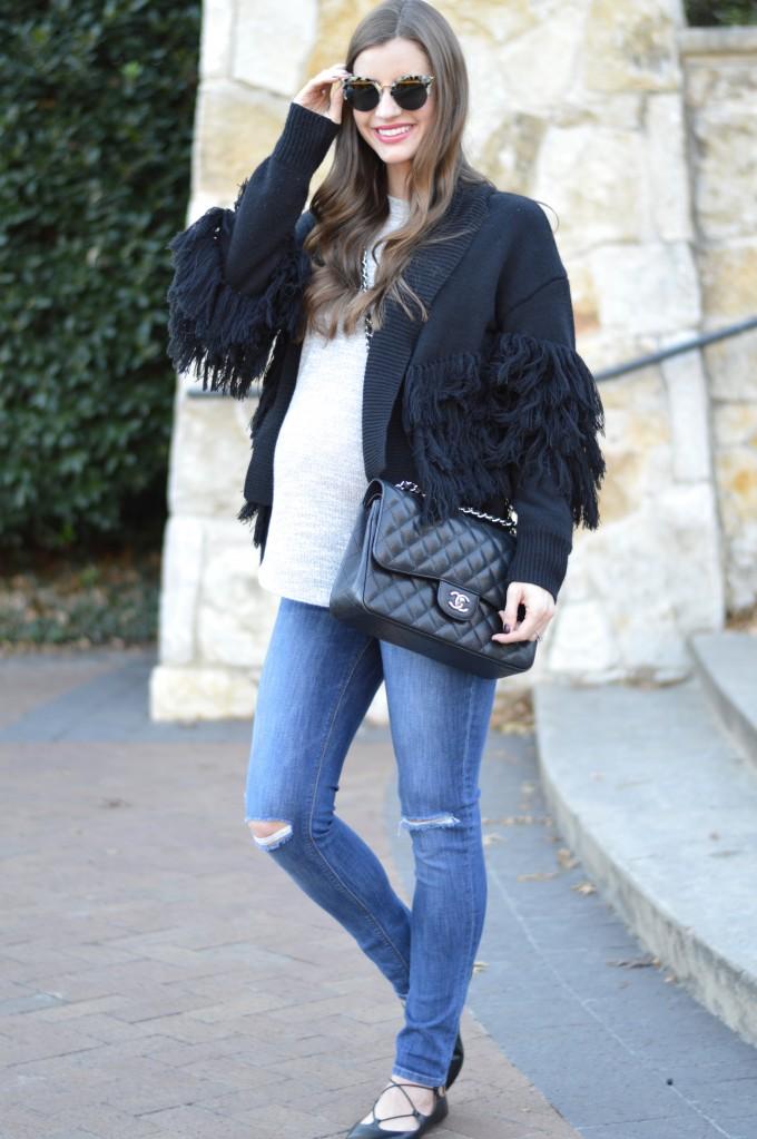 fringe sweater, maternity style, cute maternity sweater