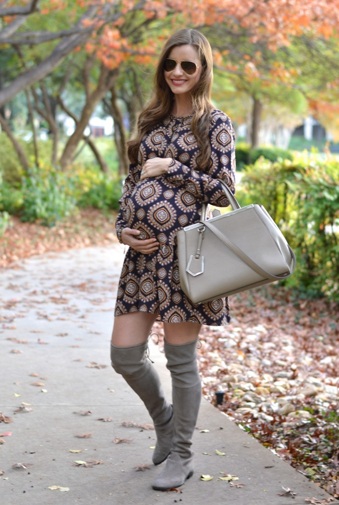 medallion shirtdress, maternity style, how to look cute when you are pregnant