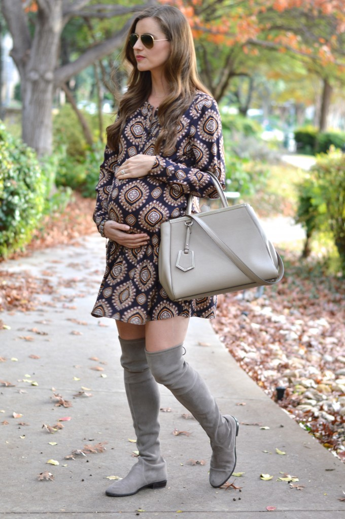 maternity style, dressing a baby bump for fall, how to dress cute when you're pregnant, over the knee boots