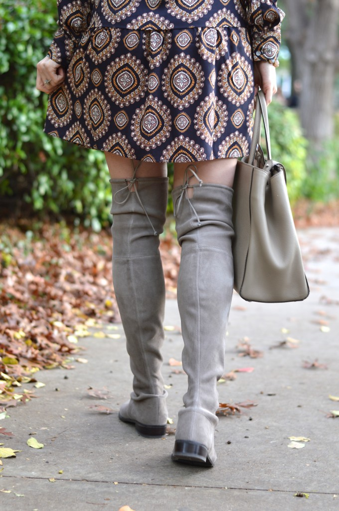 over the knee boots, gray suede over the knee boots