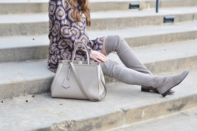 gray fendi handbag, gray suede over the knee boots