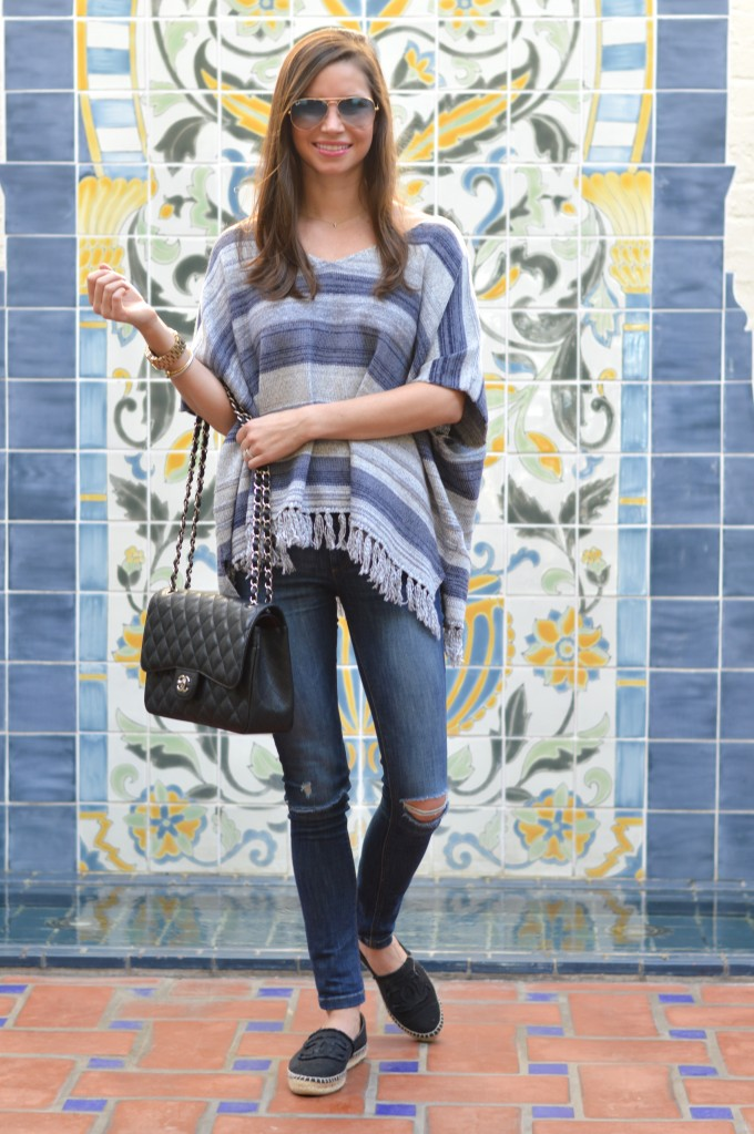 striped poncho, striped fringe poncho, fringe sweater
