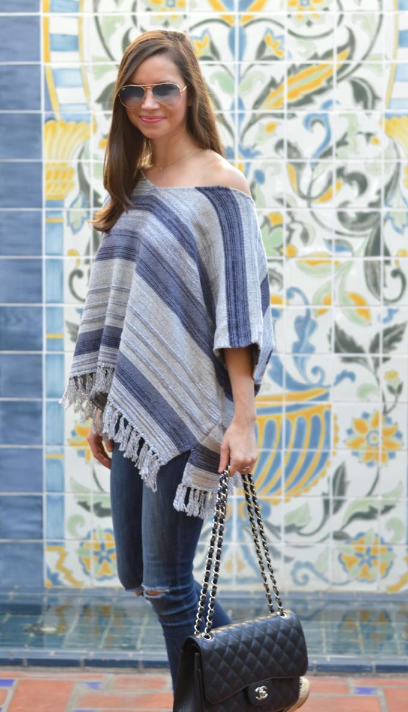 striped fringe poncho, fringes sweater, sweater with fringe