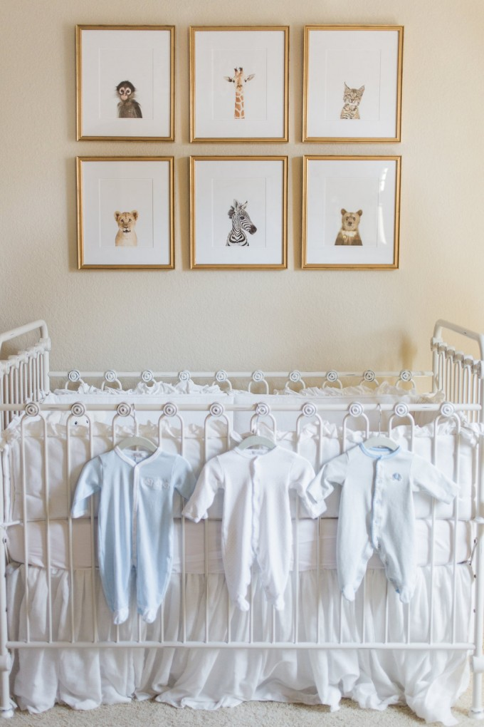baby animal prints, bratt decor crib, iron crib, gender neutral nursery inspiration, kissy kissy baby,