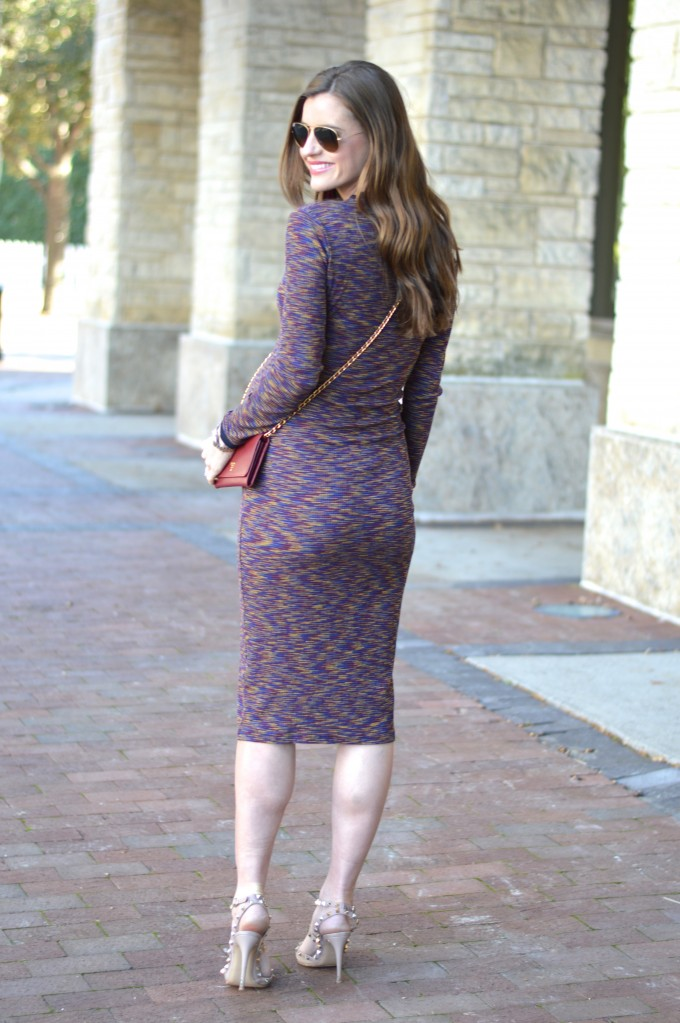 space dyed midi dress, striped midi dress, valentino rock studs, prada wallet on a chain, wine colored wallet on a chain