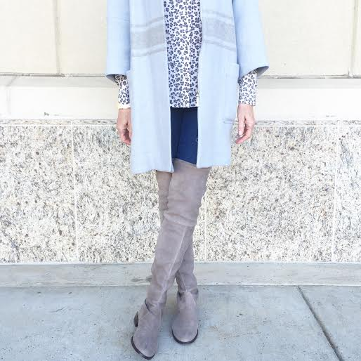 baby blue coat, over the knee boots, leopard top