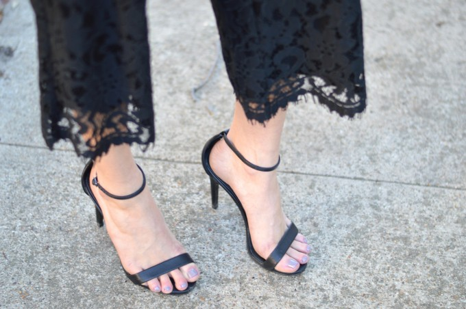 nudist sandals, strappy black sandals, lace culottes