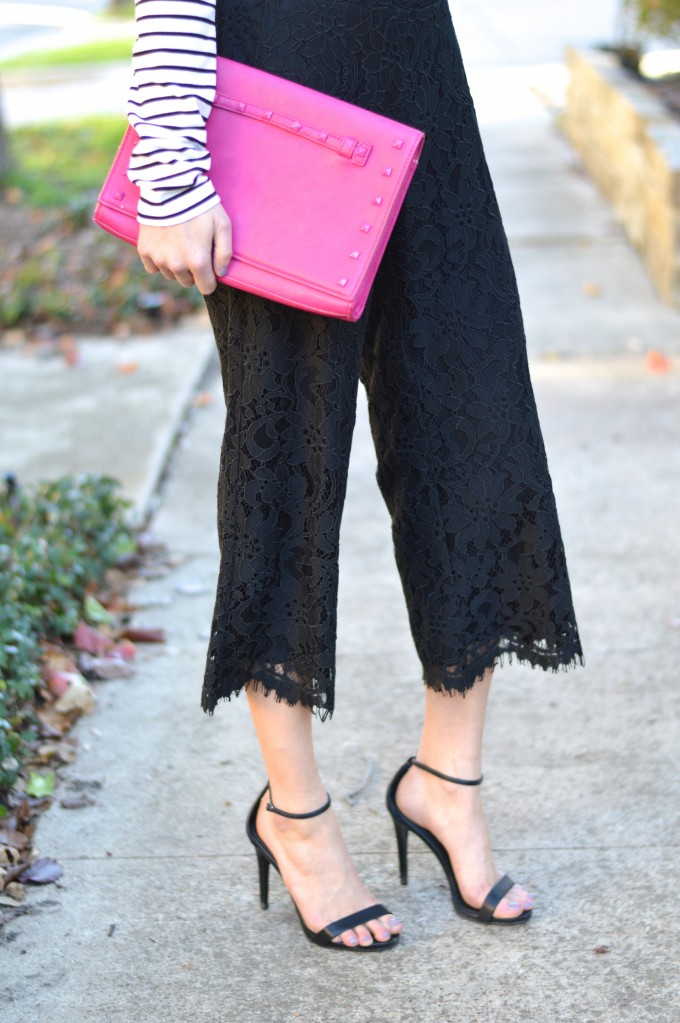lace culottes, hot pink clutch, what to wear with culottes