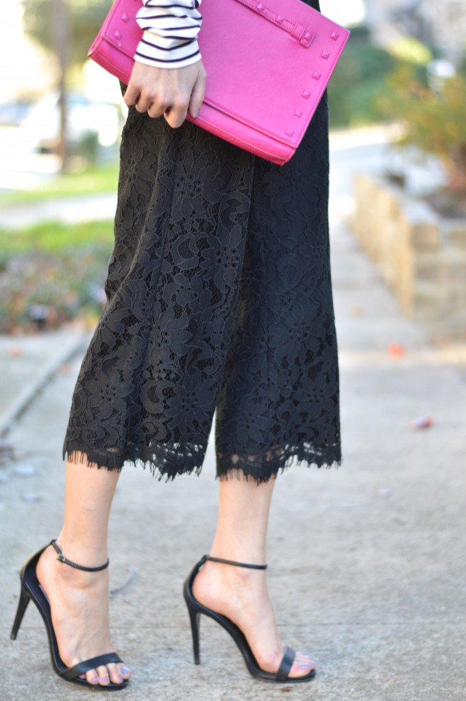 hot pink clutch, strappy sandals, lace culottes