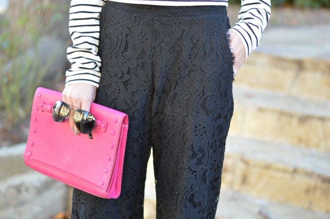 black lace pants, black lace culottes, hot pink clutch, dressy pants with pockets