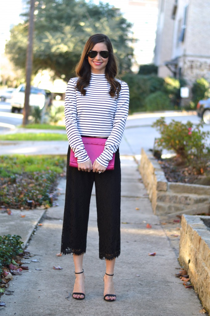 striped mock turtleneck, hot pink clutch, what to wear with culottes