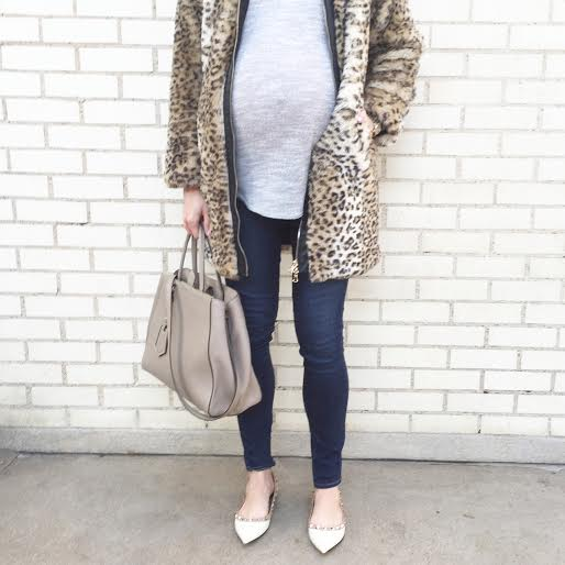 leopard coat, maternity style, dressing the bump