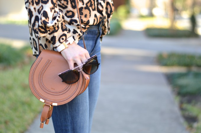 leopard print top, chloe handbag, chloe cross body in luggage brown, Prada sunglasses