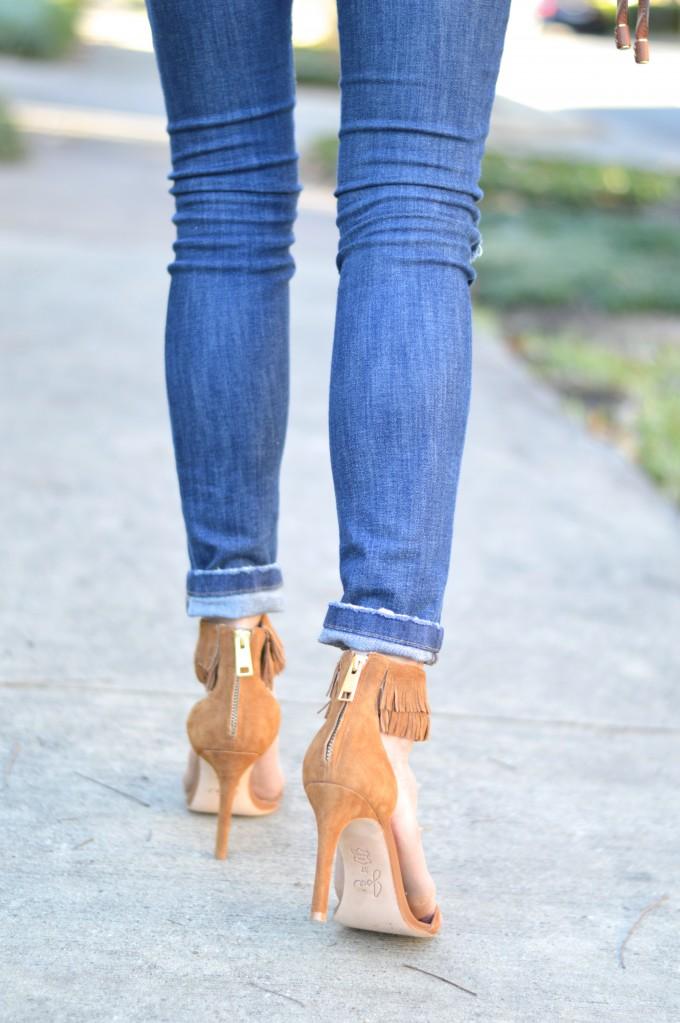 fringed sandals, fringed heeled sandals, cognac heels