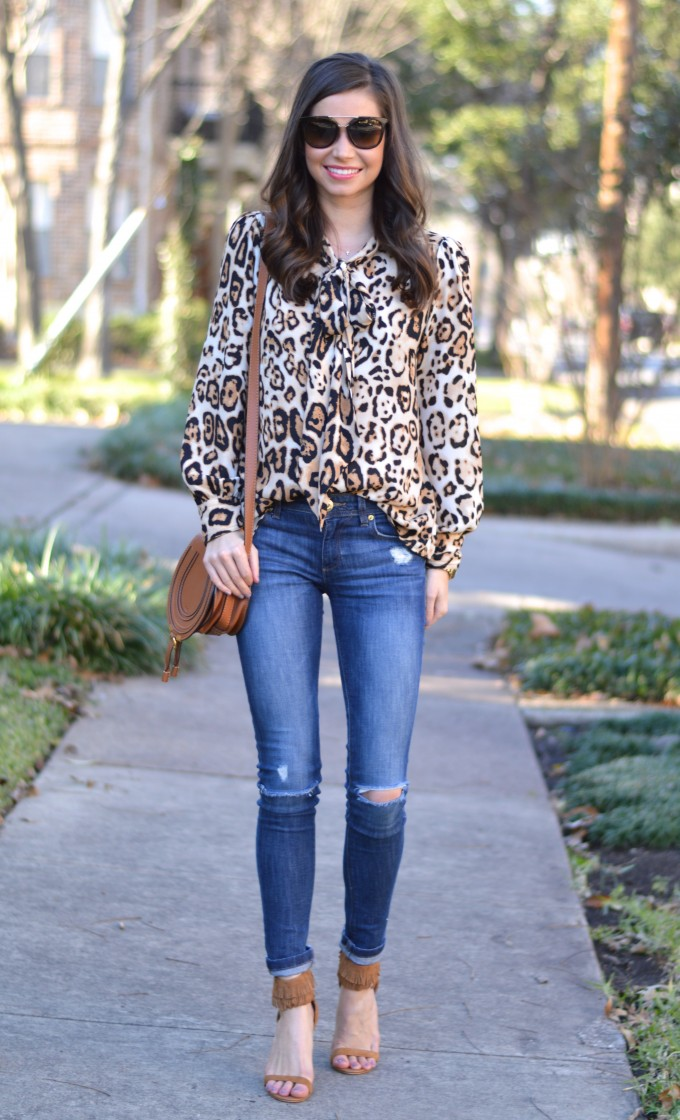 casual style, leopard print top, bow neck top, distressed jeans,