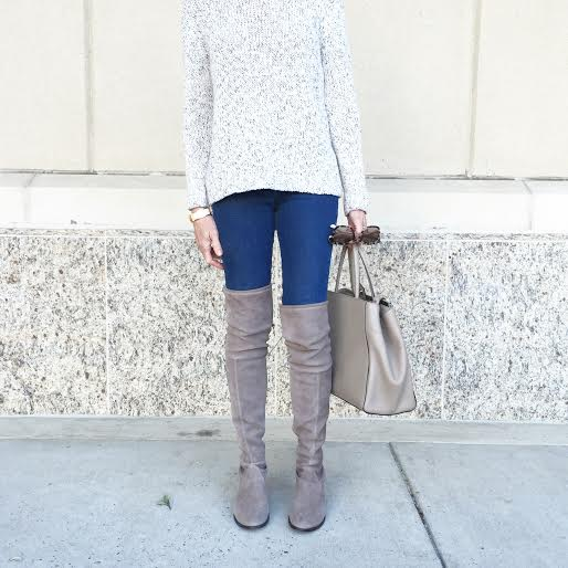 sweater|jeans|over the knee boots|tote bag|sunnies