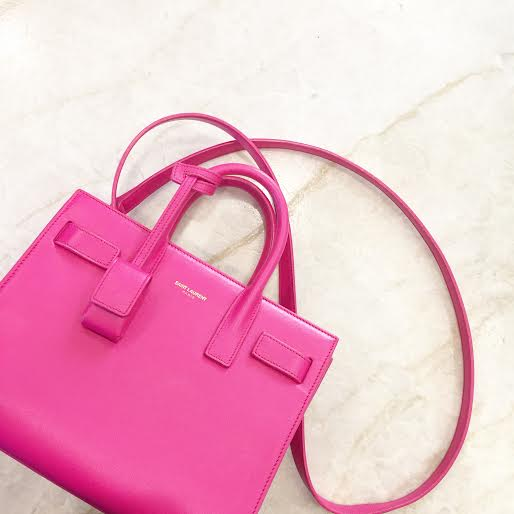 pink saint laurent tote, pink mini bag