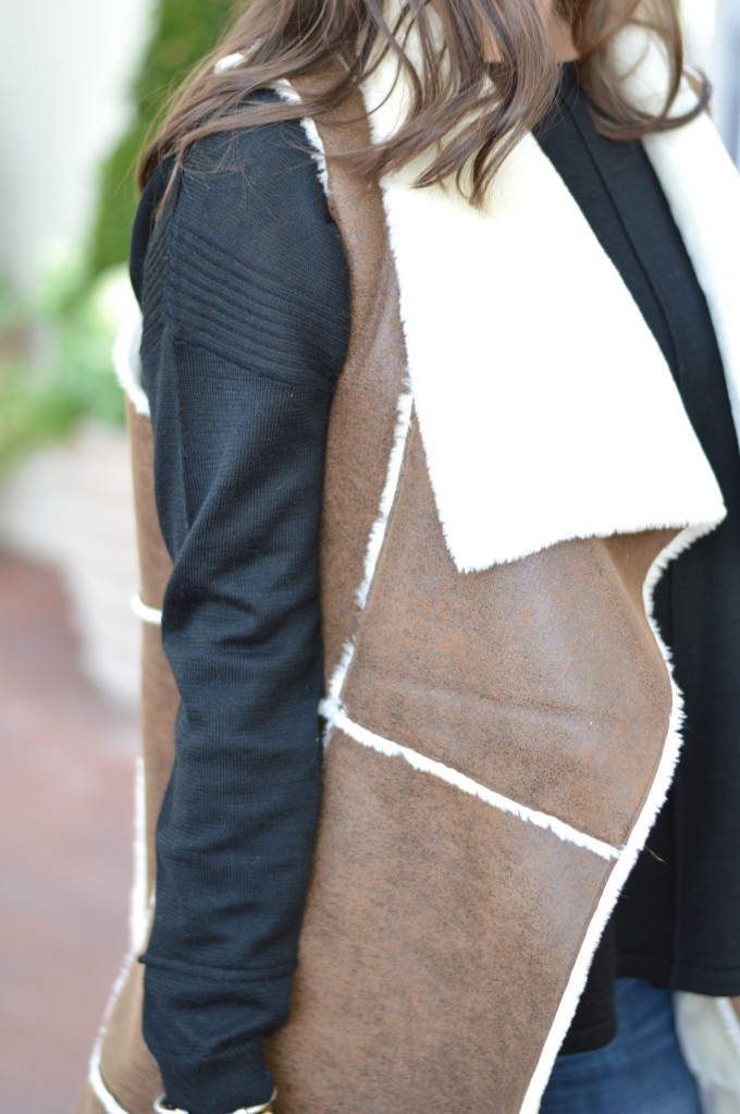 brown shearling vest, what to wear with a shearling vest