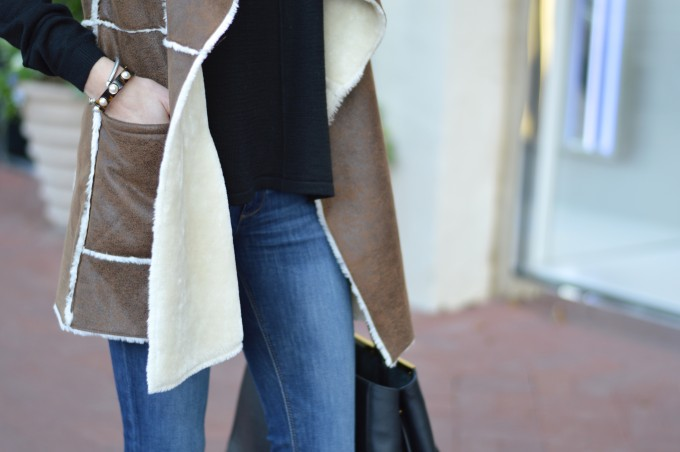 brown shearling vest, casual weekend wear,