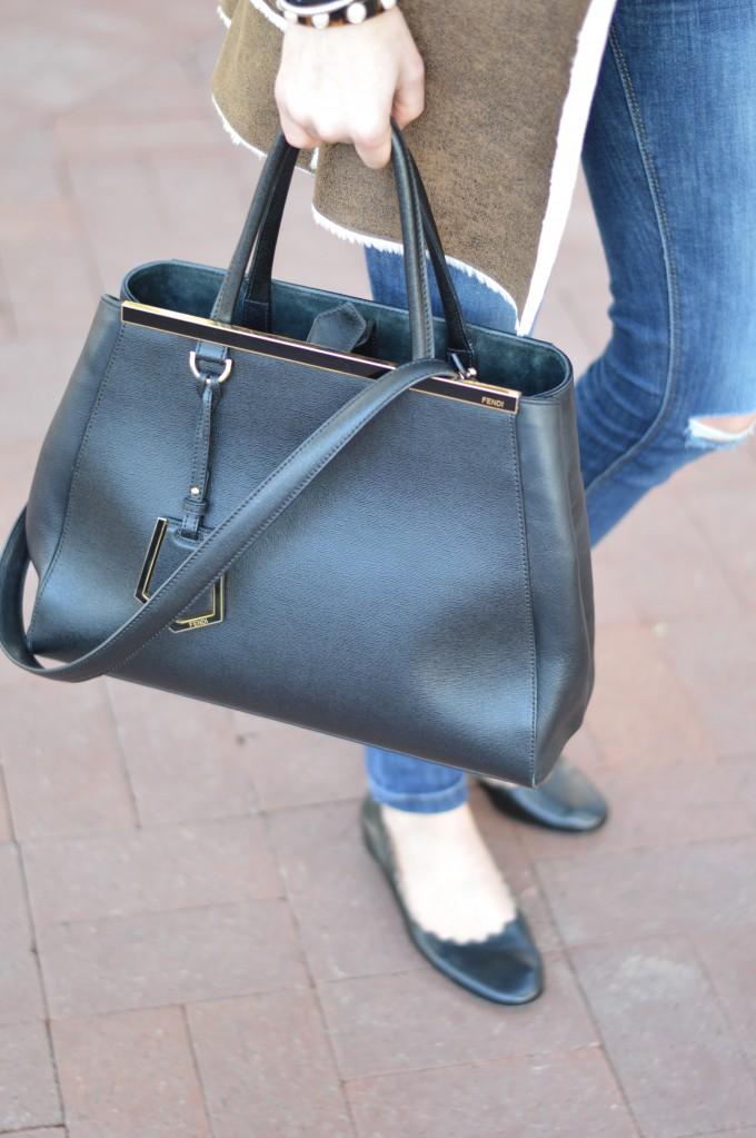fendi 2jours handbag in blac, chloe flats