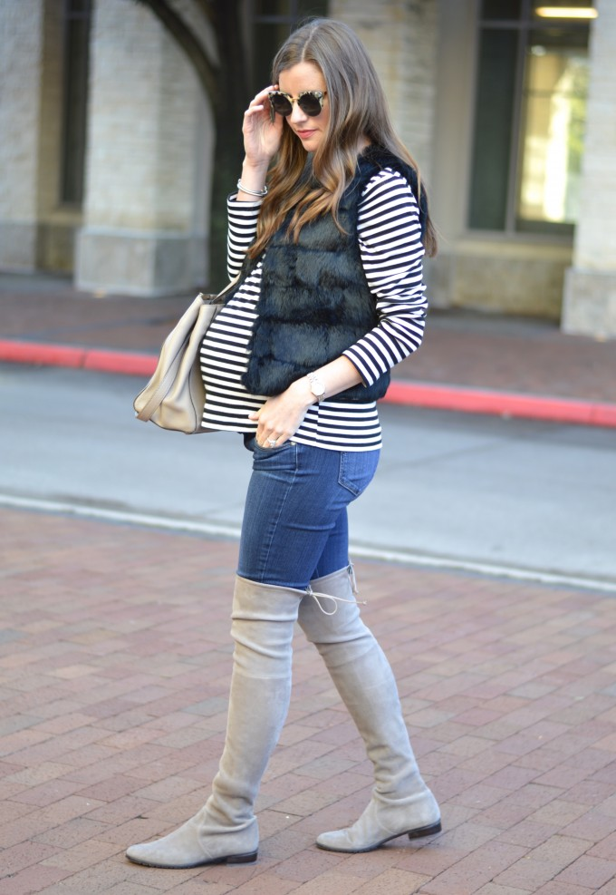 how to style a fur vest, what to wear with a striped top, casual winter style