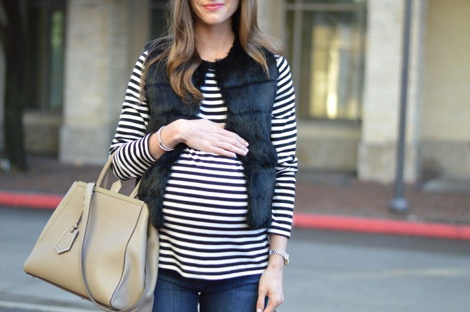 maternity style, what to wear with a maternity top, fur vest for maternity