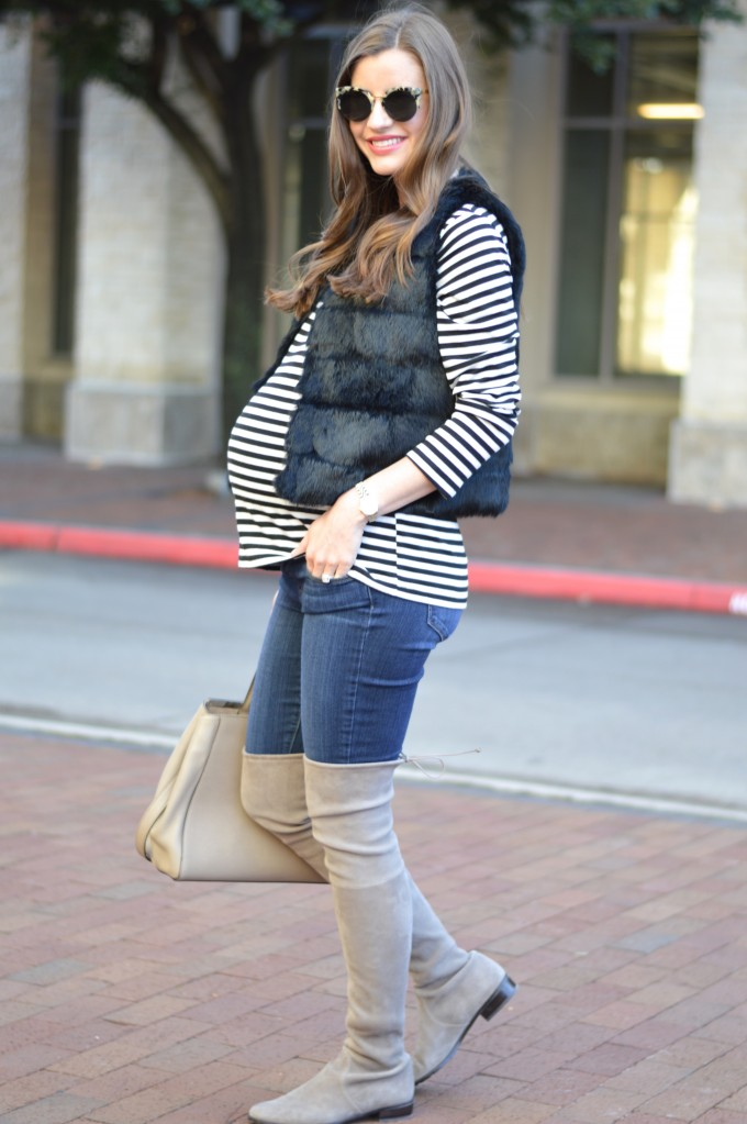 grey over the knee boots, lowland over the knee boots in grey, maternity style, black and white striped top