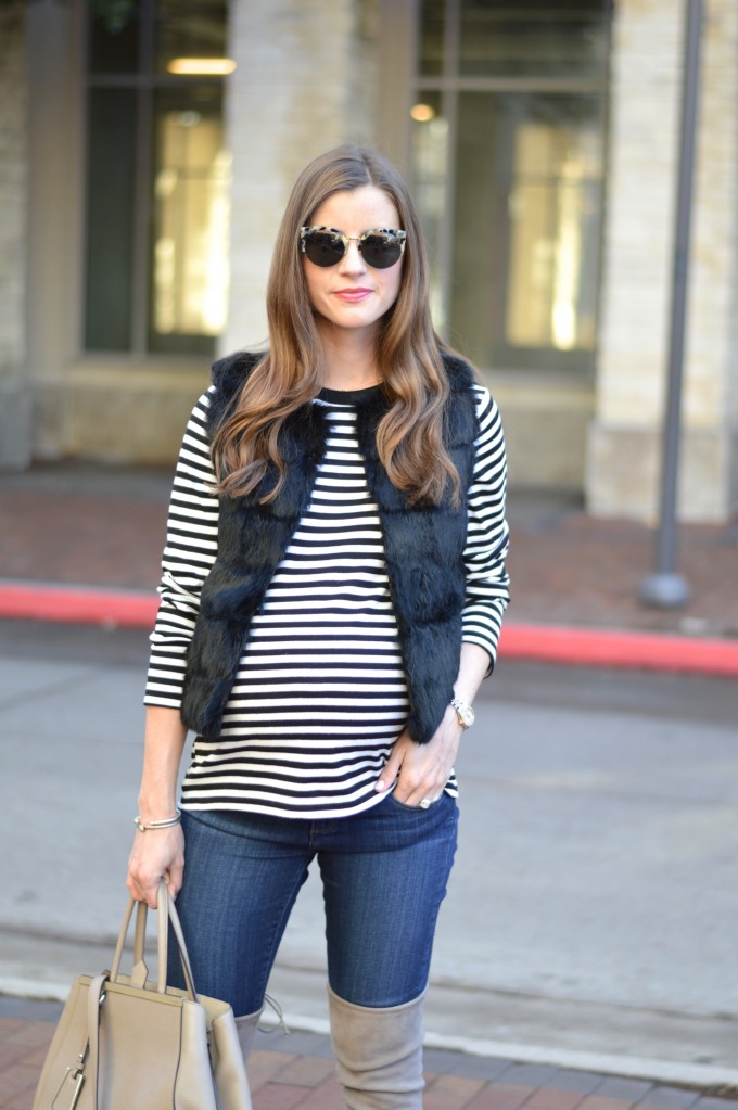 long sleeve striped top, black and white striped top, black fur vest