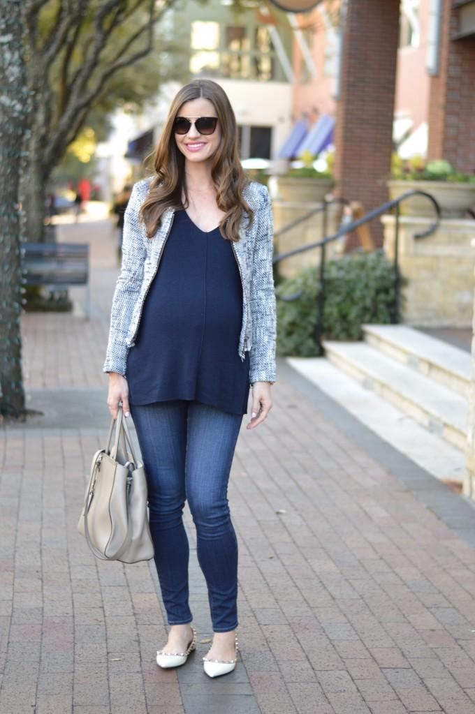 tweed jacket, maternity style, fendi 2jour handbag, maternity jeans