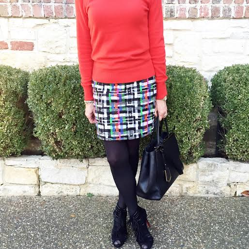 tweed skirt, red sweater, sunday style