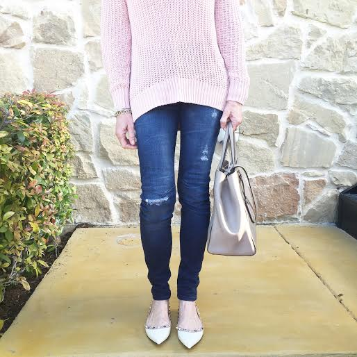 sweater|jeans|flats|tote bag