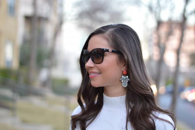 statement earrings, white mock turtleneck