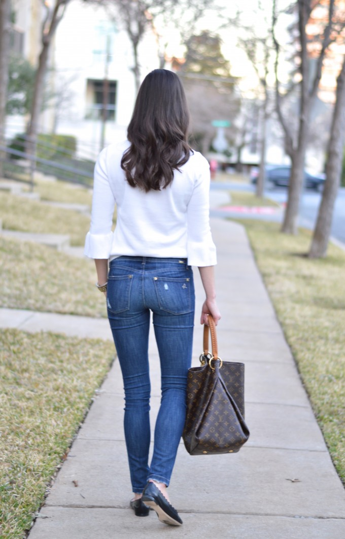 bell sleeve sweater, distressed jeans, black scallop flats